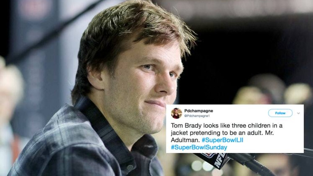 timeless design 9b303 89230 Tweets About Tom Brady's Jacket At The 2018 Super Bowl Are ...