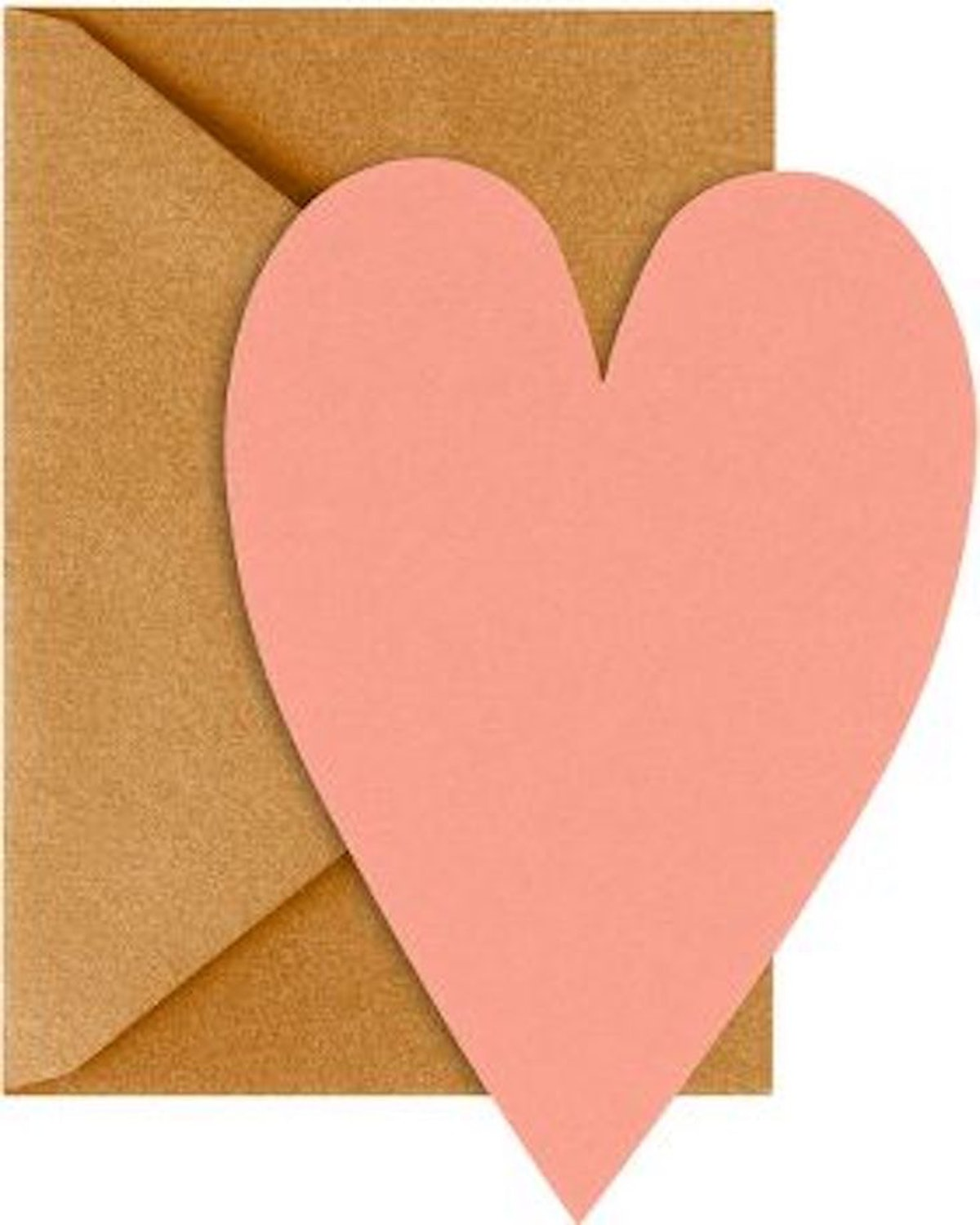 Coral Heart Cards with Antique Gold Envelopes, Set of 10