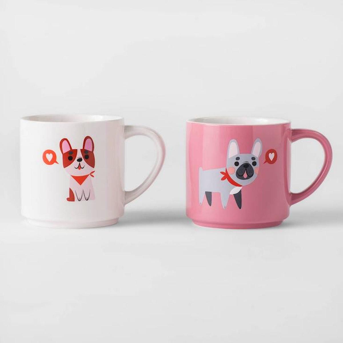 Threshold Valentine Dogs Glazed Stoneware Mug, Set of 2