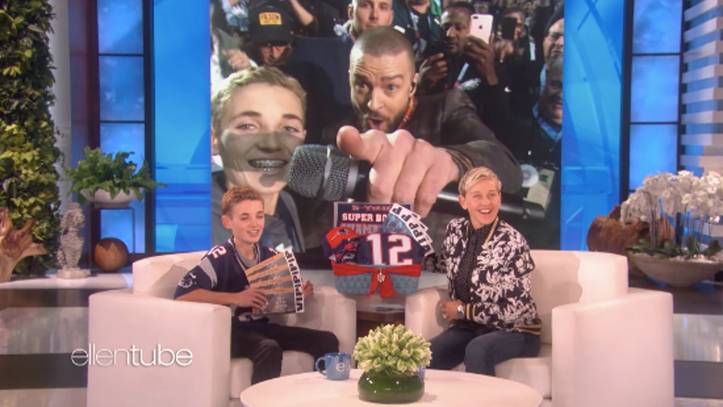 4327f7435ef This Video Of Justin Timberlake   Super Bowl Selfie Kid On  Ellen  Is  Everything