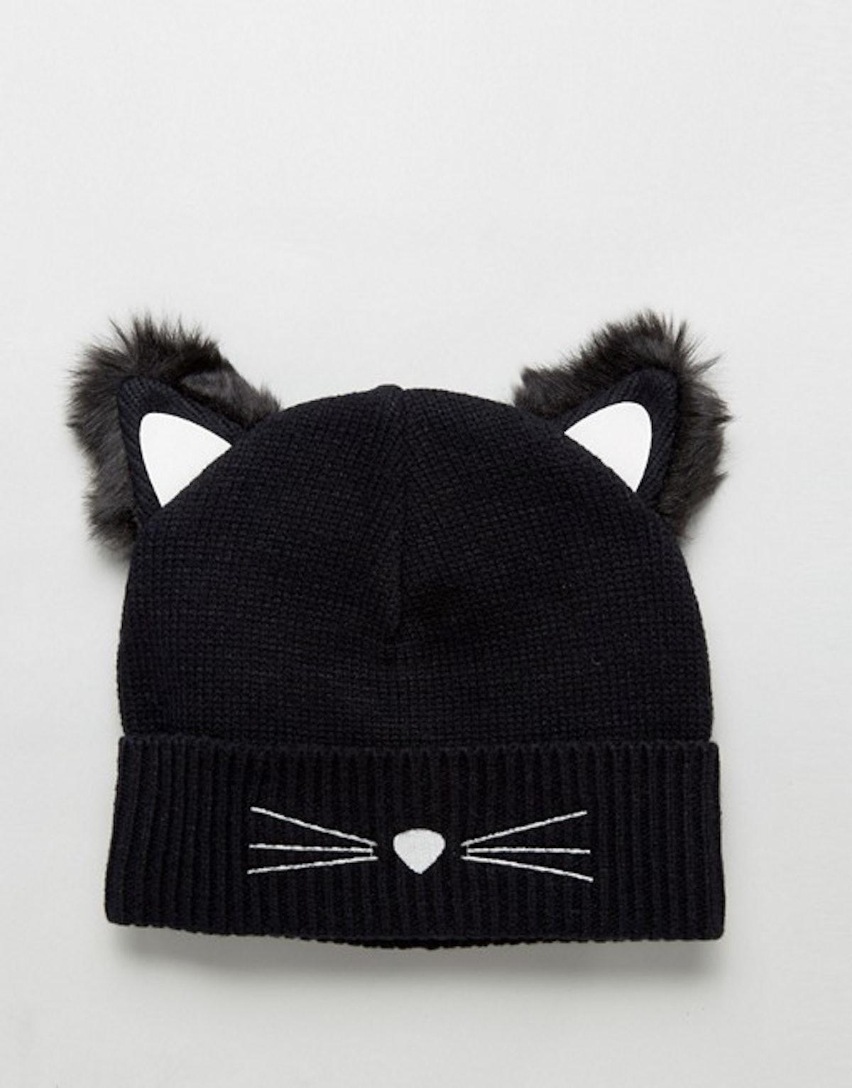 Cat Ears Beanie With Glow In The Dark Yarn