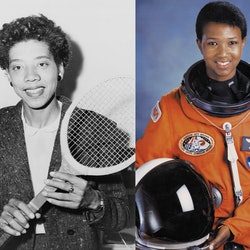 Images of Althea Gibson and Mae Jemison, two Black women from history whose stories are rarely taught in textbooks.