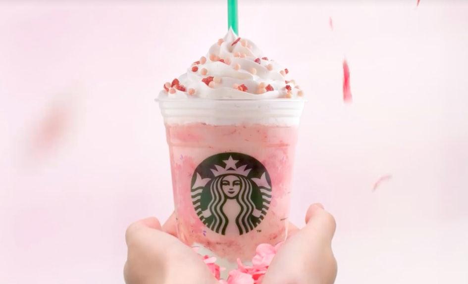 starbucks strawberry honey blossom creme frappuccino is a pink dream