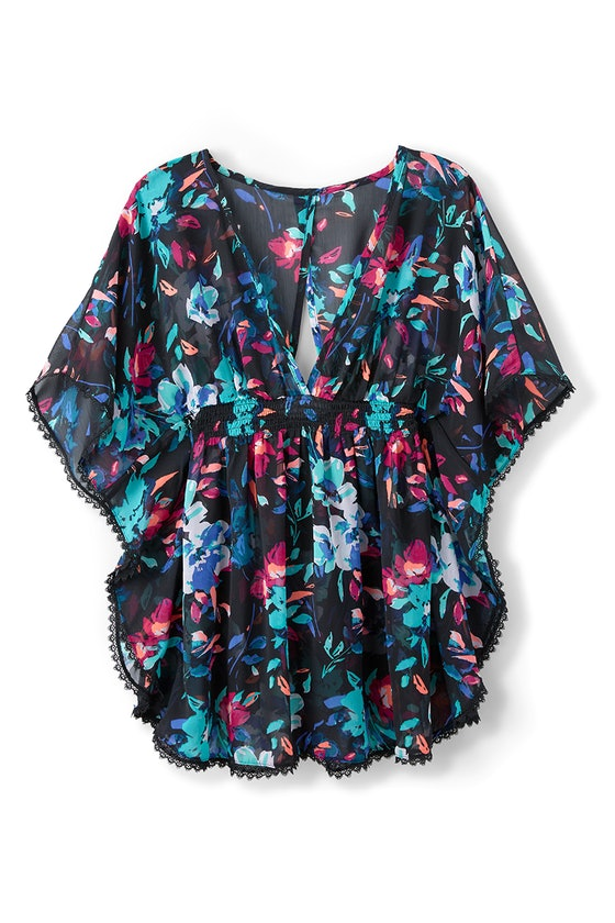 Time and Tru Open Back Printed Chiffon Swim Cover-Up