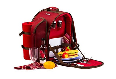 TAWA 2 Person Red Picnic Backpack (red)