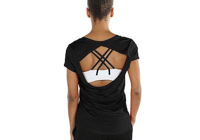 icyzone Activewear V-Neck Open-Back T-Shirt