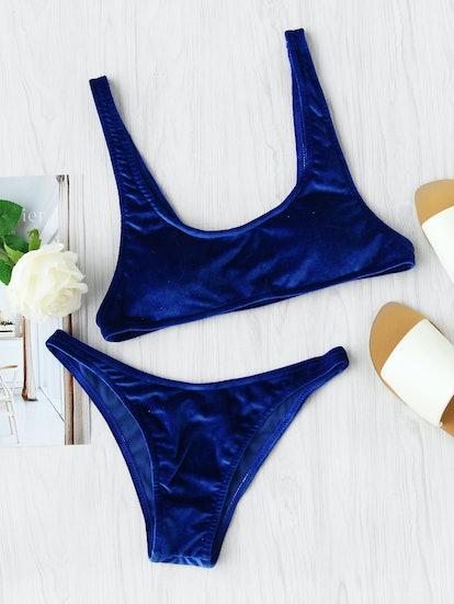 Scoop Neck High Leg Velvet Bikini Set