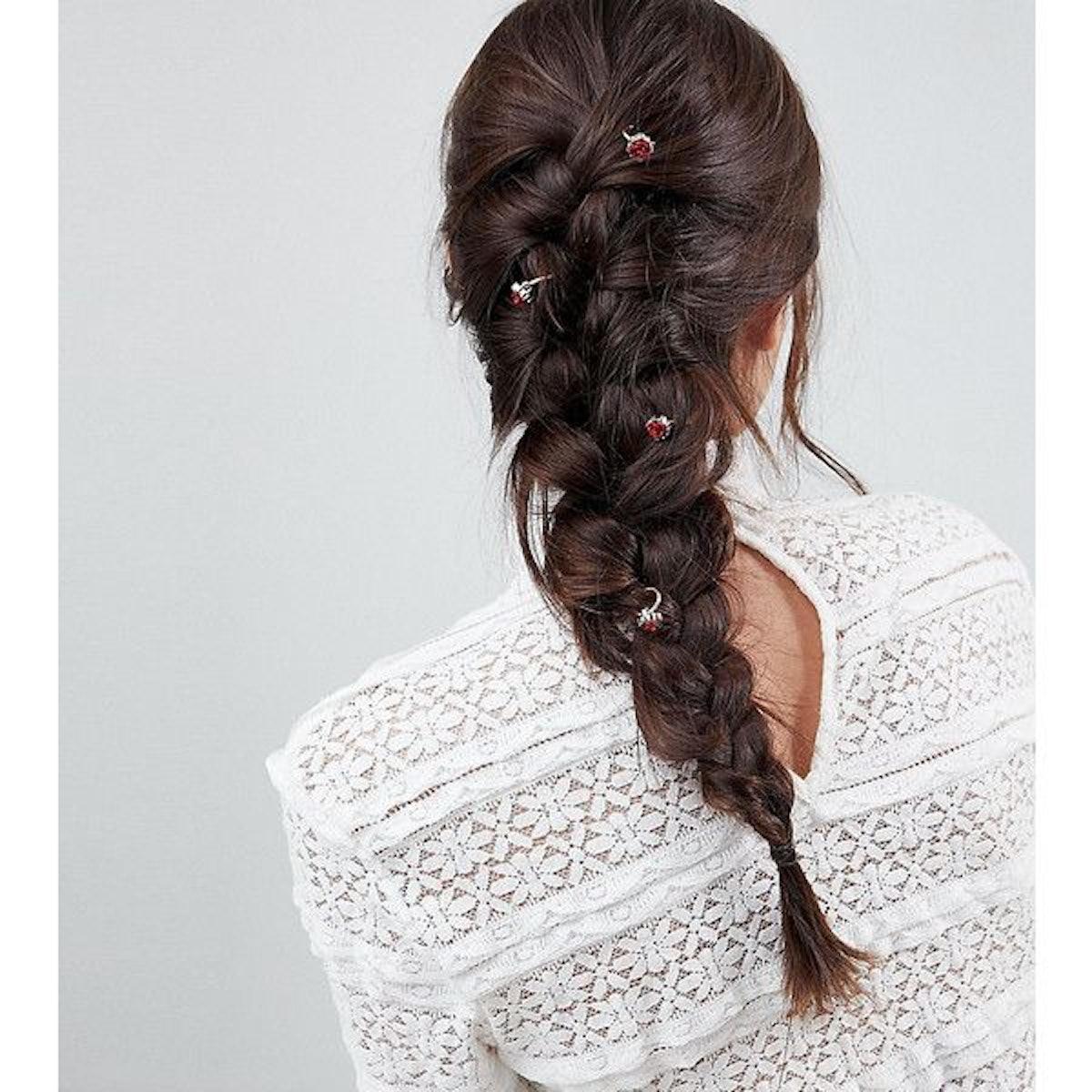 ASOS DESIGN pack of 6 rose hair rings