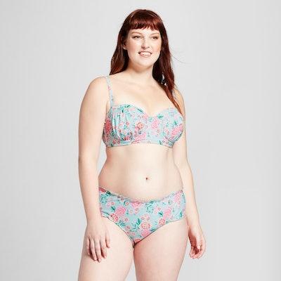 Xhilaration Women's Plus Size Printed Lettuce Edge Hipster Bikini Bottom