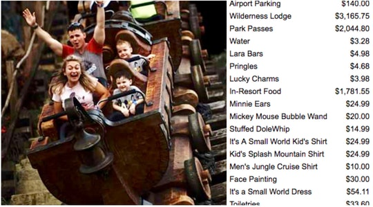 A woman and her family descend the Splash Mountain log flume