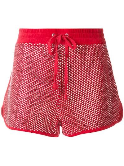 Embellished Velour Shorts