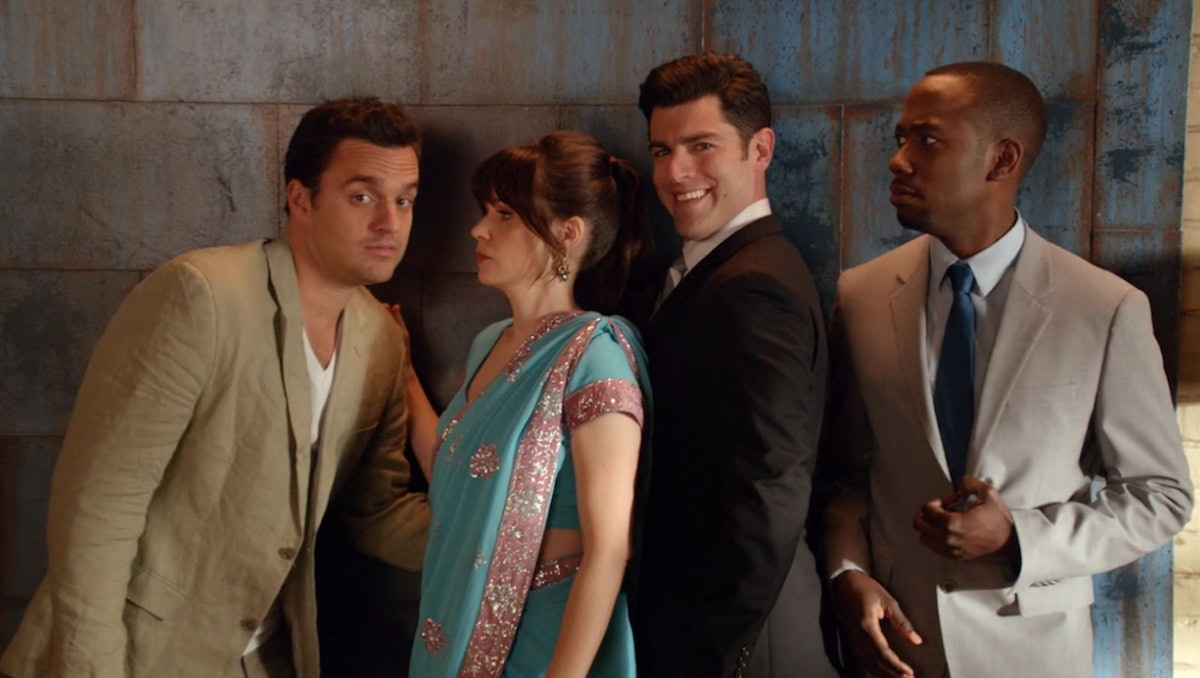 The cast of Fox's 'New Girl' — Jake Johnson (Nick Miller), Zooey Deschanel (Jess Day), Max Greenfield (Schmidt), and Lamorne Morris (Winston)  —making funny faces.
