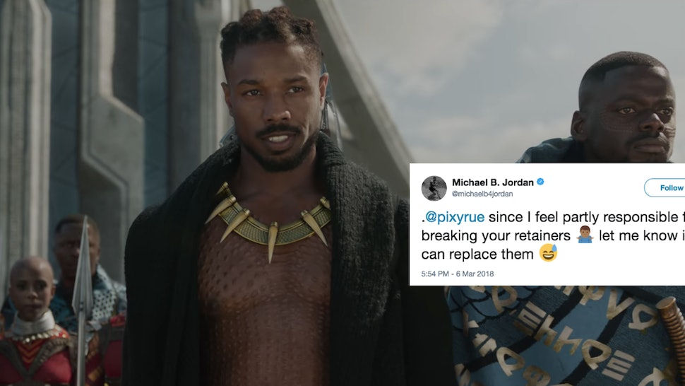 034aea6c78ff Michael B. Jordan s Response To The Teen Who Broke Her Retainer Watching   Black Panther  Is Too Perfect