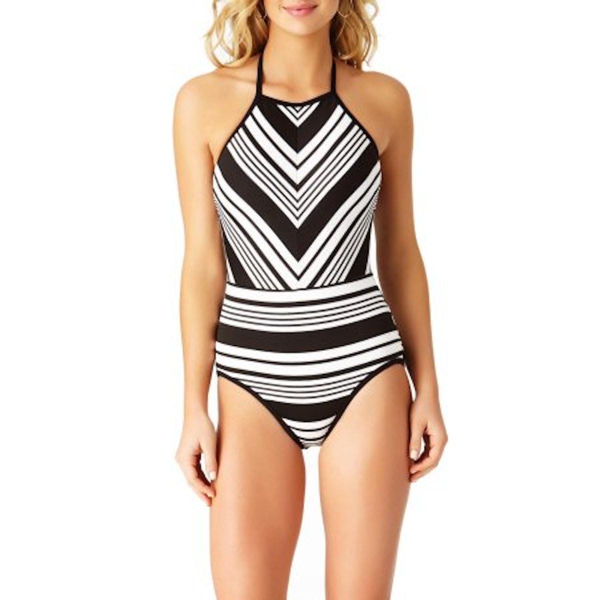 Time and Tru Women's Studio Stripe One-Piece Swimsuit