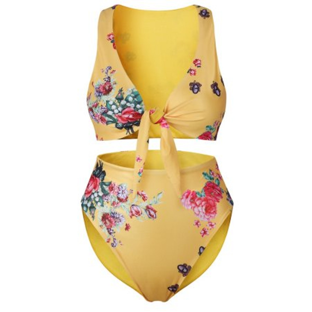 Womens Two Piece Swimsuits High Waisted Bikini Floral Print Tie Knot Front Bathing Suit