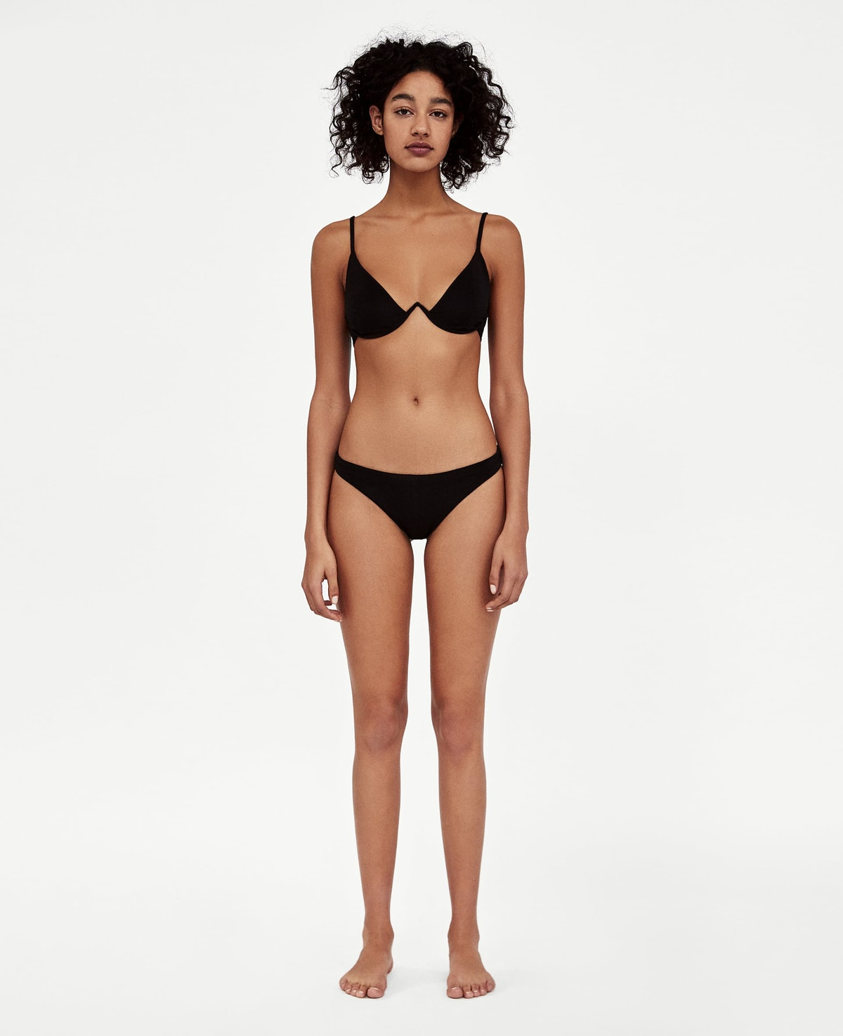 V-Neck Textured Weave Bikini Top and Bottoms