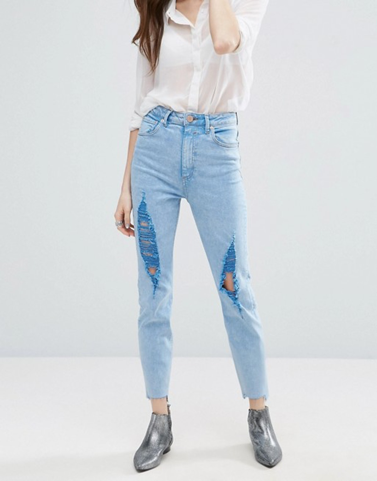 ASOS FARLEIGH High Waist Slim Mom Jeans In Fran Light Mottled Wash with Super Busts and Stepped Hem