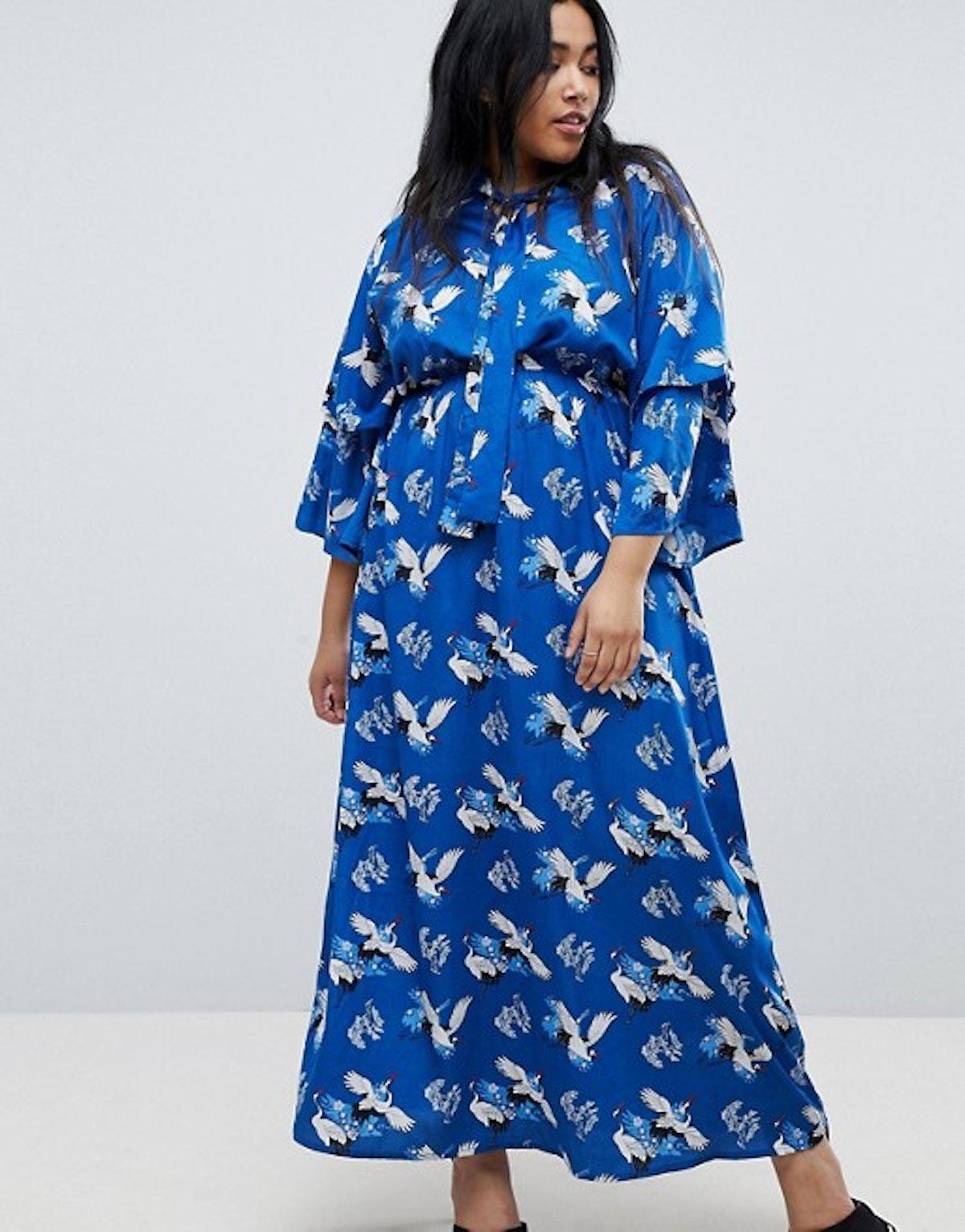 Yumi Plus Frill Sleeve Maxi Dress in Heron Print