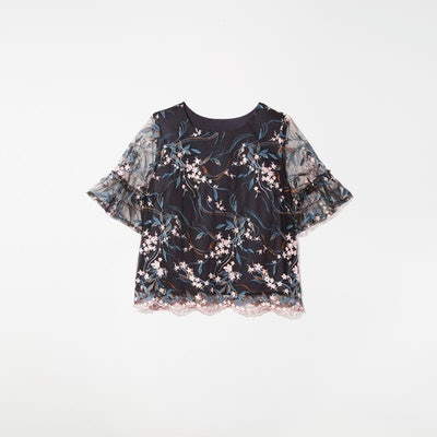 Tess Embroidered Mesh Top