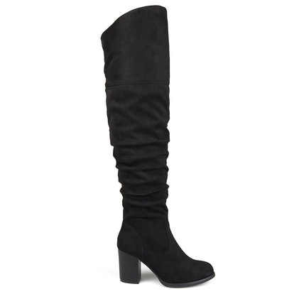 Brinley Co Ruched Stacked Heel Suede Over-The-Knee Boots