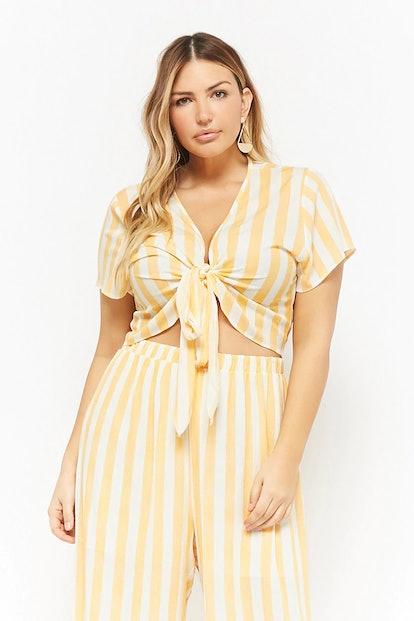 Plus Size Striped Tie-Front Top