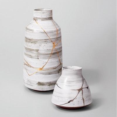 Stoneware Vase Small - White/Gold