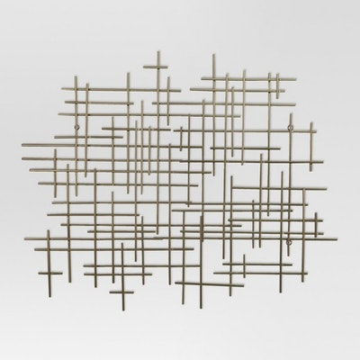 """Mid-Century Metal Wall Décor Gold 36x30"""""""