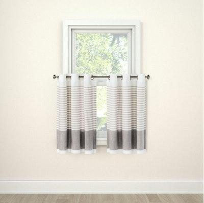 Curtains Tier Stripe Gray