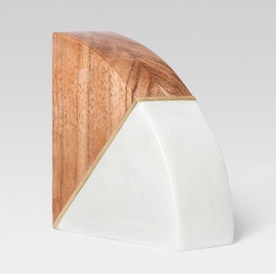 Marble And Wood Bookend