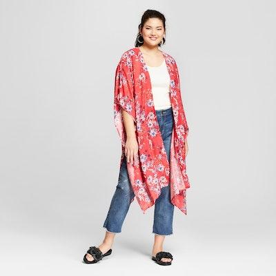 Xhilaration Women's Plus Size Floral Print Kimono