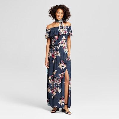 Xhilaration Women's Off the Shoulder Maxi Dress