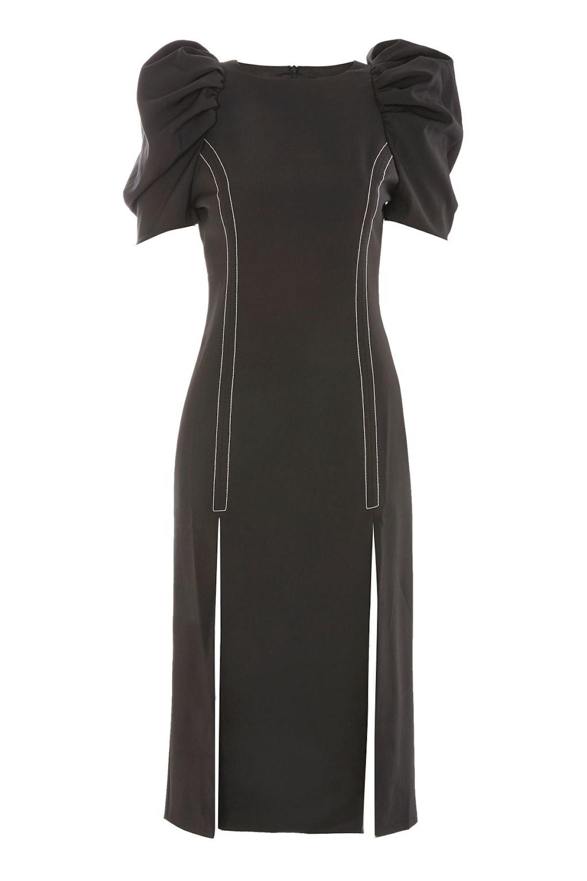 Puff Sleeve Midi Shift Dress by Style Mafia