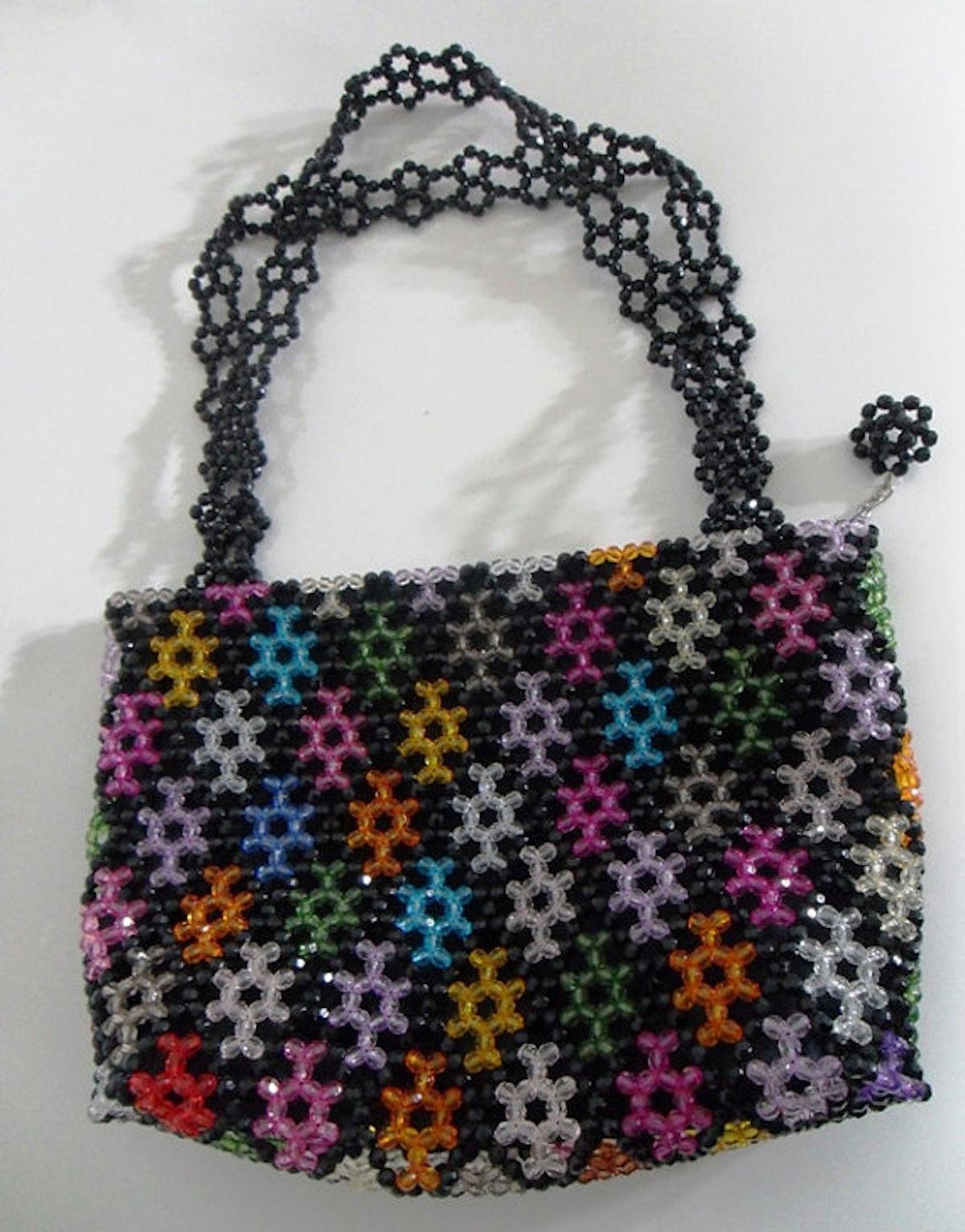 MamaJamaCrafts Beaded Rainbow Handbag