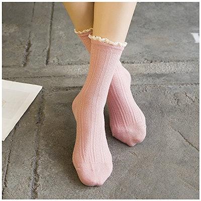 Fitu Vintage Ruffle Bamboo Boot Socks