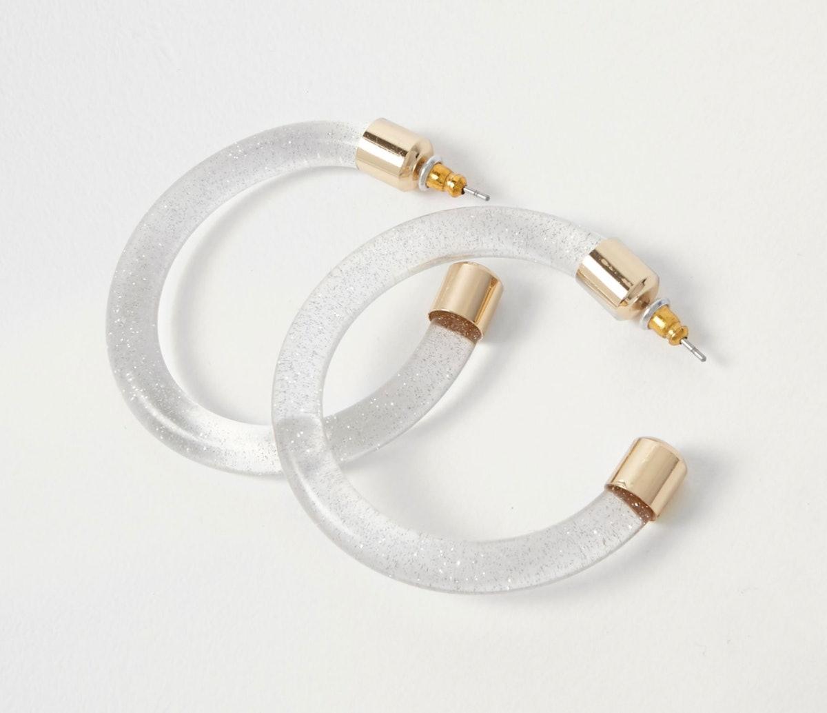 Clear plastic glitter hoop earrings