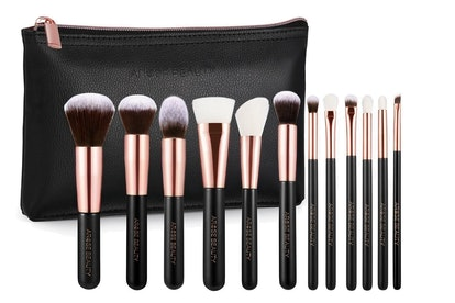 Arose Beauty Luxury Rose Gold 12pc Vegan Makeup Face & Eye Essentials Brush Set