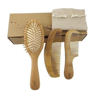 VKCB Natural Wood Hair Brush, Scalp Comb and Peach Wood Beard Comb Set