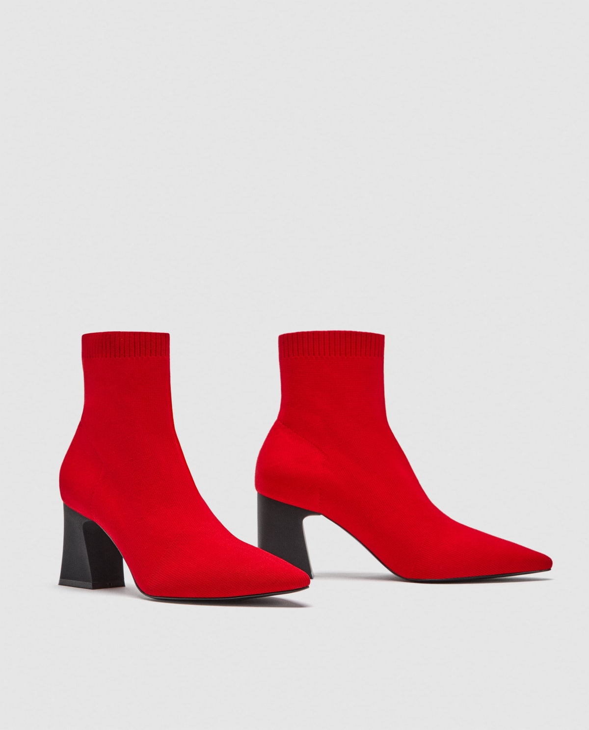RED STRETCH ANKLE BOOTS