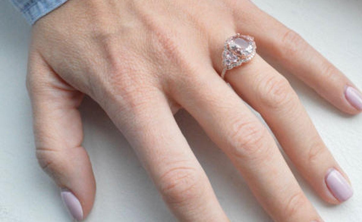Morganite Pink Sapphire Engagement Ring