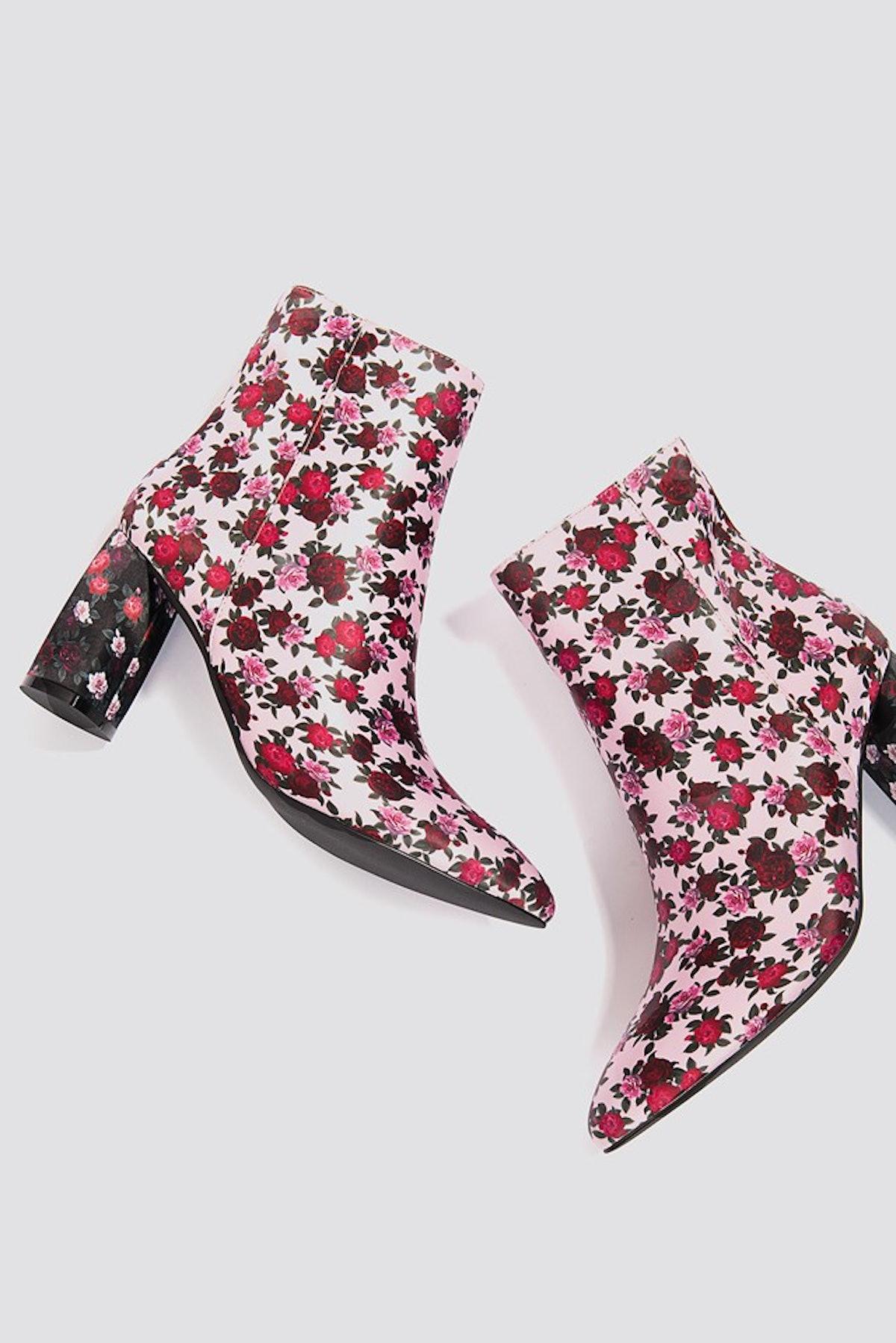 Printed Satin Mid Heel Boots