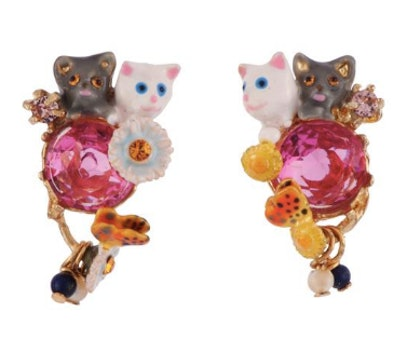 Little Cats Duo With Faceted Glass And Charms Earrings
