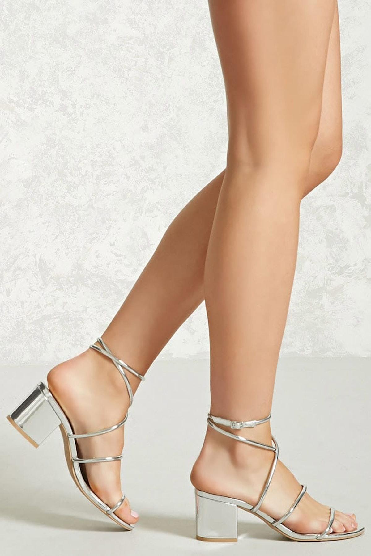 Metallic Ankle-Wrap Heels