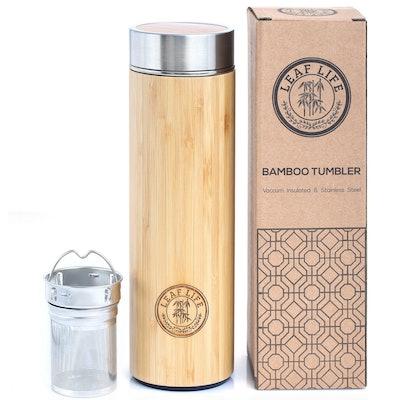 LeafLife Original Bamboo Tea Tumbler With Tea Infuser & Strainer