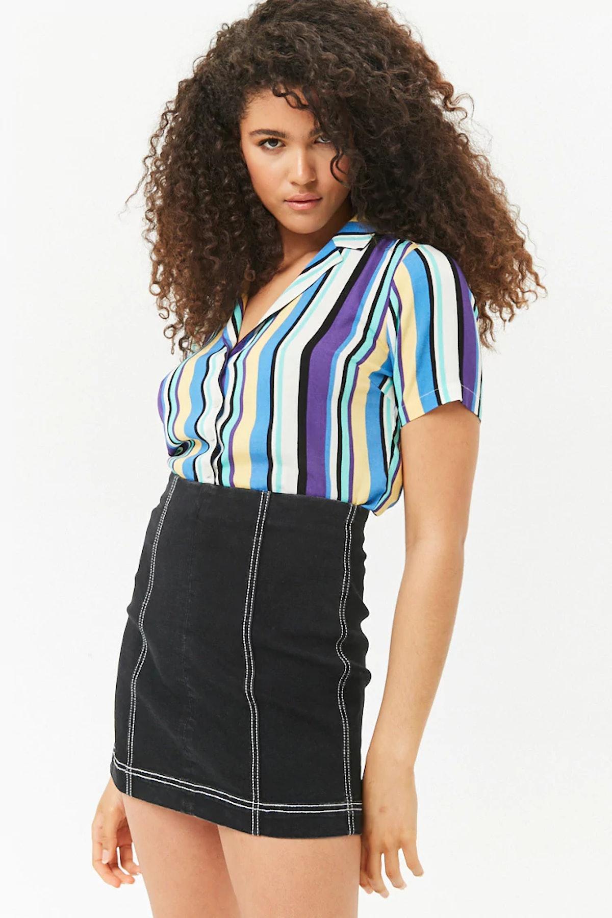 Contrast Top-Stitch Denim Mini Skirt