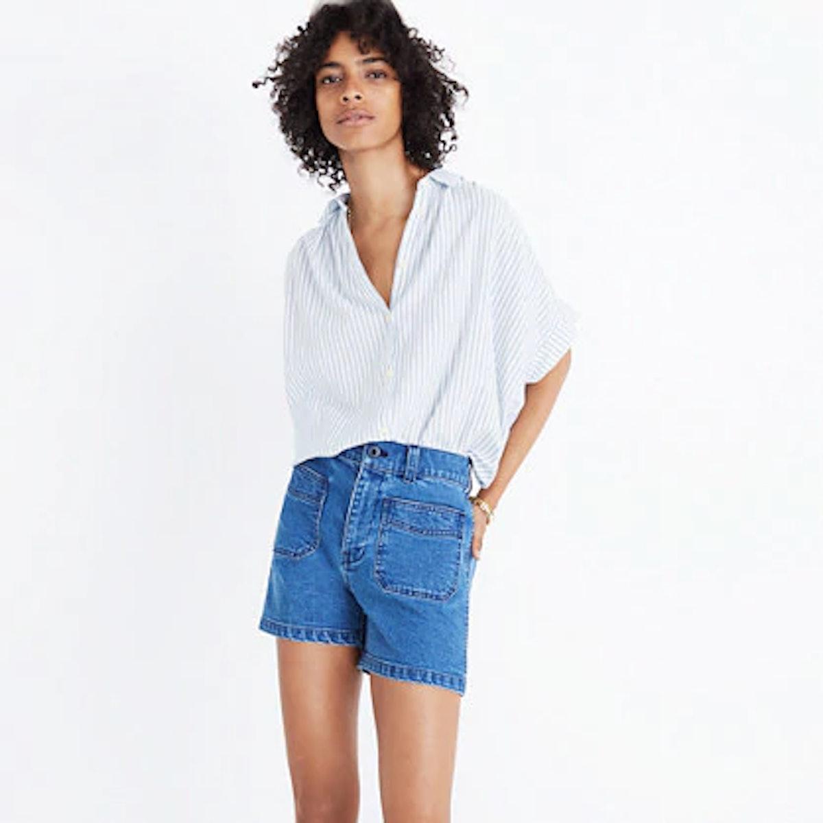 High-rise denim shorts: patch pocket edition