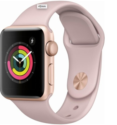 Apple - Apple Watch Series 3 (GPS), 38mm Gold Aluminum Case with Pink Sand Sport Band - Gold Aluminum