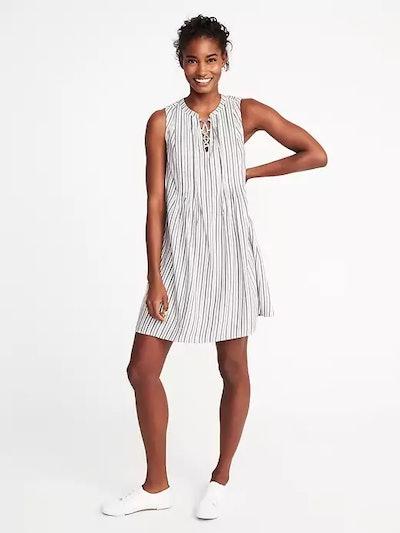 Metallic-Stripe Swing Dress