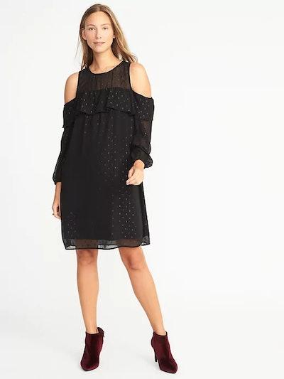Cold-Shoulder Textured-Print Shift Dress