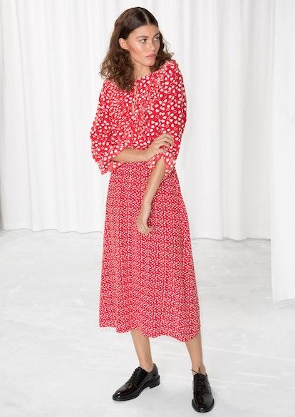 Heart Printed Midi Dress