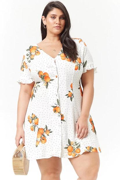 Plus Size Orange Button-Front Dress